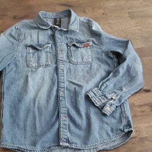 H&M kids button up shirt chambray sz 7-8y [0408]
